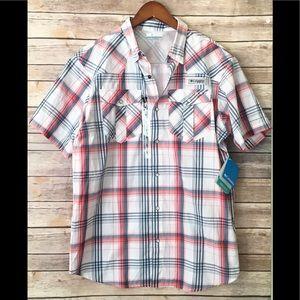 Columbia white plaid snap up button shirt